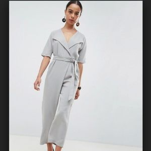 Asos Gray Wrap Jumpsuit with Self Belt 0